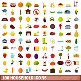 100 household icons set, flat style Royalty Free Stock Photography