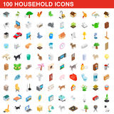 100 household icons set, isometric 3d style. 100 household icons set in isometric 3d style for any design vector illustration Stock Photos