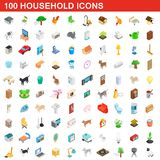 100 household icons set, isometric 3d style. 100 household icons set in isometric 3d style for any design illustration vector illustration