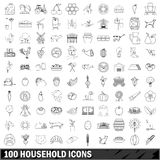 100 household icons set, outline style Stock Photos