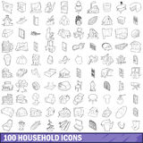 100 household icons set, outline style. 100 household icons set in outline style for any design vector illustration Royalty Free Stock Photo