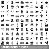 100 household icons set, simple style. 100 household icons set in simple style for any design vector illustration Royalty Free Stock Image