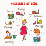 Household interests of woman - infographics funny Royalty Free Stock Photo