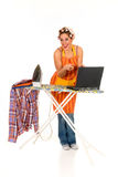 Household, ironing, internet Royalty Free Stock Photography