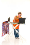 Household, ironing, internet Stock Images