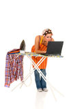 Household, ironing, internet Royalty Free Stock Photos