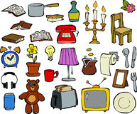 Household items. Doodle design elements vector Stock Image