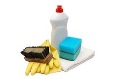 Household items for cleanliness. Isolated white background royalty free stock photos
