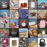 Household items, collage. Dishes, electronics, food,  flowers. Royalty Free Stock Image