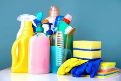 Sanitary items,cleaning household supplies. royalty free stock photos