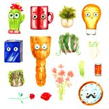 Household items lightbulb broom mug cactus smiling positive colorful characters cartoon fairy tale children`s funny watercolor is Royalty Free Stock Images