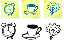 Household items on post it notes and silhouettes Stock Photo