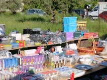 Household Items For Sale at Weekly Greek Street Market. A range of inexpensive household items, neatly stacked for sale at a weekly Greek street market, Greece Royalty Free Stock Image