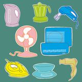 Household kitchen aplliance icons Royalty Free Stock Photography