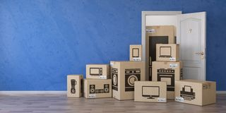 Household kitchen appliances and home electronics in cardboard b stock illustration