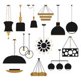 Household lamps silhouettes set Stock Image