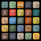 Household line flat icons with long shadow Royalty Free Stock Images