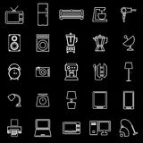 Household line icons on black background Royalty Free Stock Images