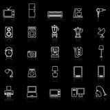 Household line icons with reflect on black background Royalty Free Stock Photo