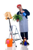 Household by man. Houseman watering the plant, ladder with cleaning products, daily household Royalty Free Stock Photos