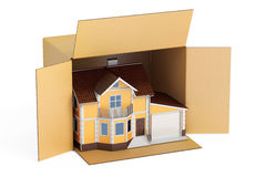 Household moving services concept. Parcel with home, 3D  Stock Photos