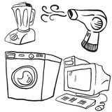 Household objects. Black and white household objects cartoon doodles Stock Photos