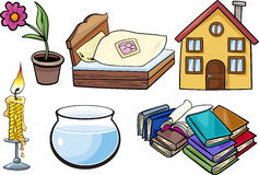 Household objects cartoon illustration set Stock Photography