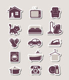 Household paper cut icons Royalty Free Stock Images