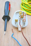 Household plug. Household electrical plug fitted with a three amp fuse and with live and neutral wires disconnected. Also an electricians screwdriver with earth Stock Photos