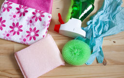 Household products for cleaning the house - stock photo. Household products for home cleaning Stock Images