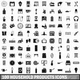 100 household products icons set, simple style. 100 household products icons set in simple style for any design vector illustration Stock Images
