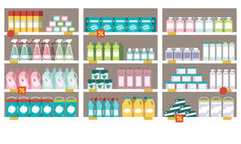 Household products on the supermarket shelves. Household products, detergents and offers on the supermarket shelves Royalty Free Stock Photo