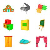 Household property icons set, cartoon style royalty free illustration