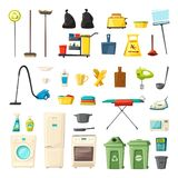 Household set and cleaning supplies icons. Cartoon vector illustration. Mop and bucket, spray and sponge, brush and glove, broom and vacuum cleaner, trash cans Stock Image
