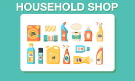 Household shop cleaning icon set Royalty Free Stock Images