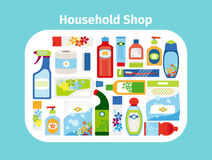 Household shop icon set stock illustration