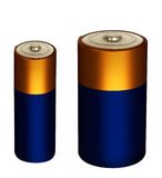 Household small batteries, power packs isolated over white Royalty Free Stock Images