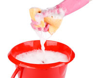 Household sponge in a hand Stock Photography