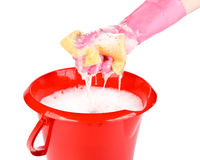 Household sponge in a hand Royalty Free Stock Image