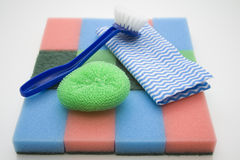 Household sponge and Rinsing brushes Stock Photos