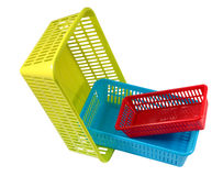Household storage system, set colored plastic baskets of various Stock Photography