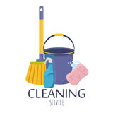 Household supplies and cleaning flat icons vector set. Stock Photo