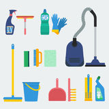 Household supplies vector. Household supplies and cleaning equipment. Flat design for web sites, infographics and printed materials Stock Photos