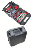 Household tool kit. And toolbox on white Royalty Free Stock Images