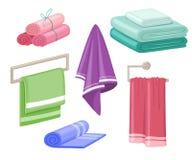 Household towels. Cotton bathroom hygiene towel vector isolated set. Household towels. Cotton bathroom hygiene towel hotel kitchen or clean shower beach hanging vector illustration