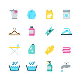Household washing, drying and laundry vector flat icons. Cleaning and washing service icons, illustration of drying and washing temperature mode Royalty Free Stock Photos