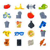 Household waste garbage icons vector. Vector drawings set of waste and garbage for recycling. Container reuse separation household waste garbage icons Stock Images