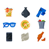 Household waste garbage icons. Vector drawings set of waste and garbage for recycling. Container reuse separation household waste garbage icons. Household waste Royalty Free Stock Image
