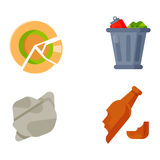 Household waste garbage icons. Vector drawings set of waste and garbage for recycling. Container reuse separation household waste garbage icons. Household waste Stock Photo