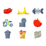 Household waste garbage icons. Vector drawings set of waste and garbage for recycling. Container reuse separation household waste garbage icons. Household waste Stock Photos